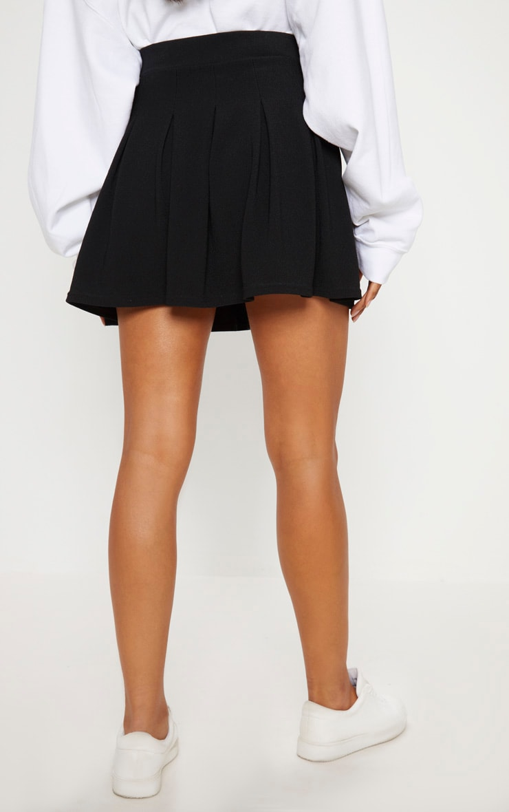 Black Pleated Side Split Tennis Skirt 4