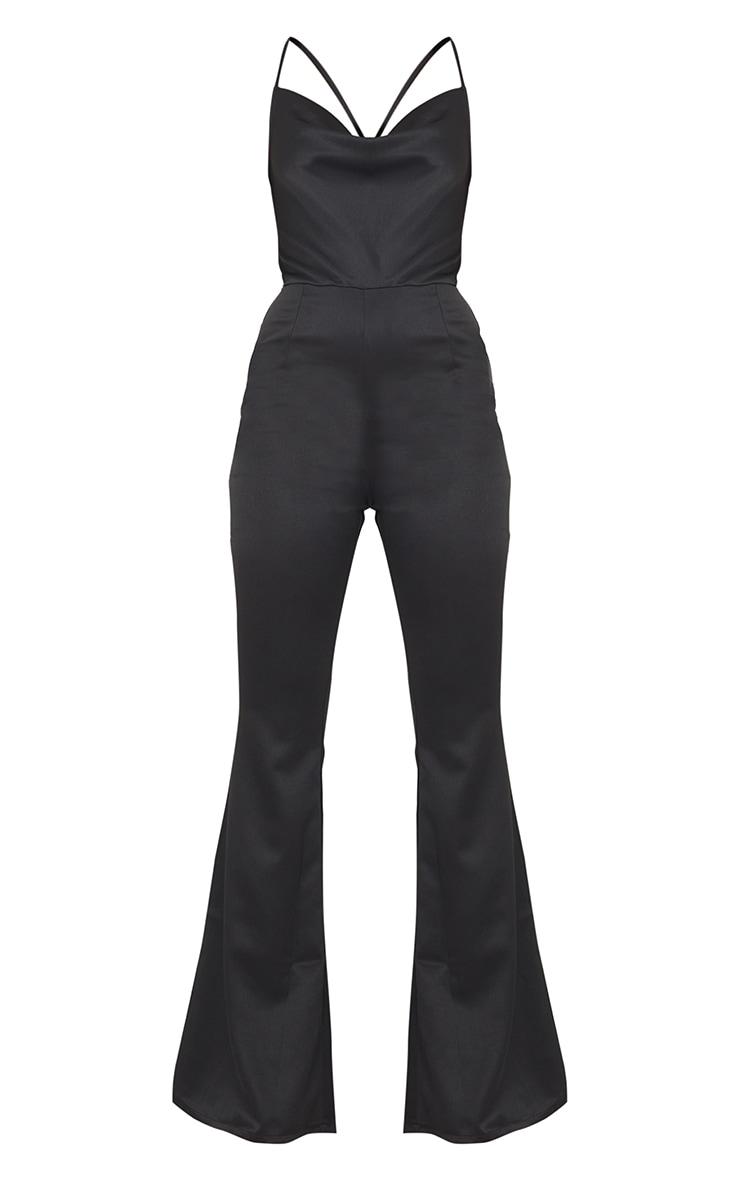 Black Satin Lace Up Cowl Neck Jumpsuit 5