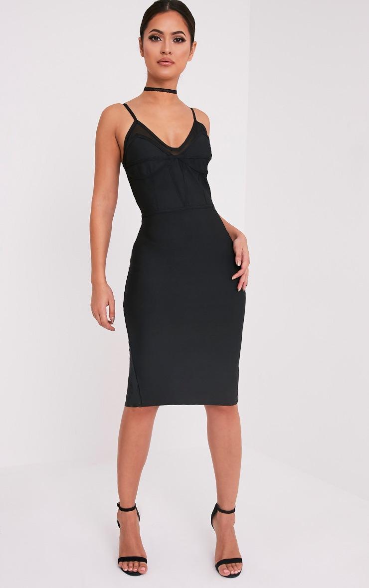Bethan Black Bandage Mesh Insert Midi Dress 5