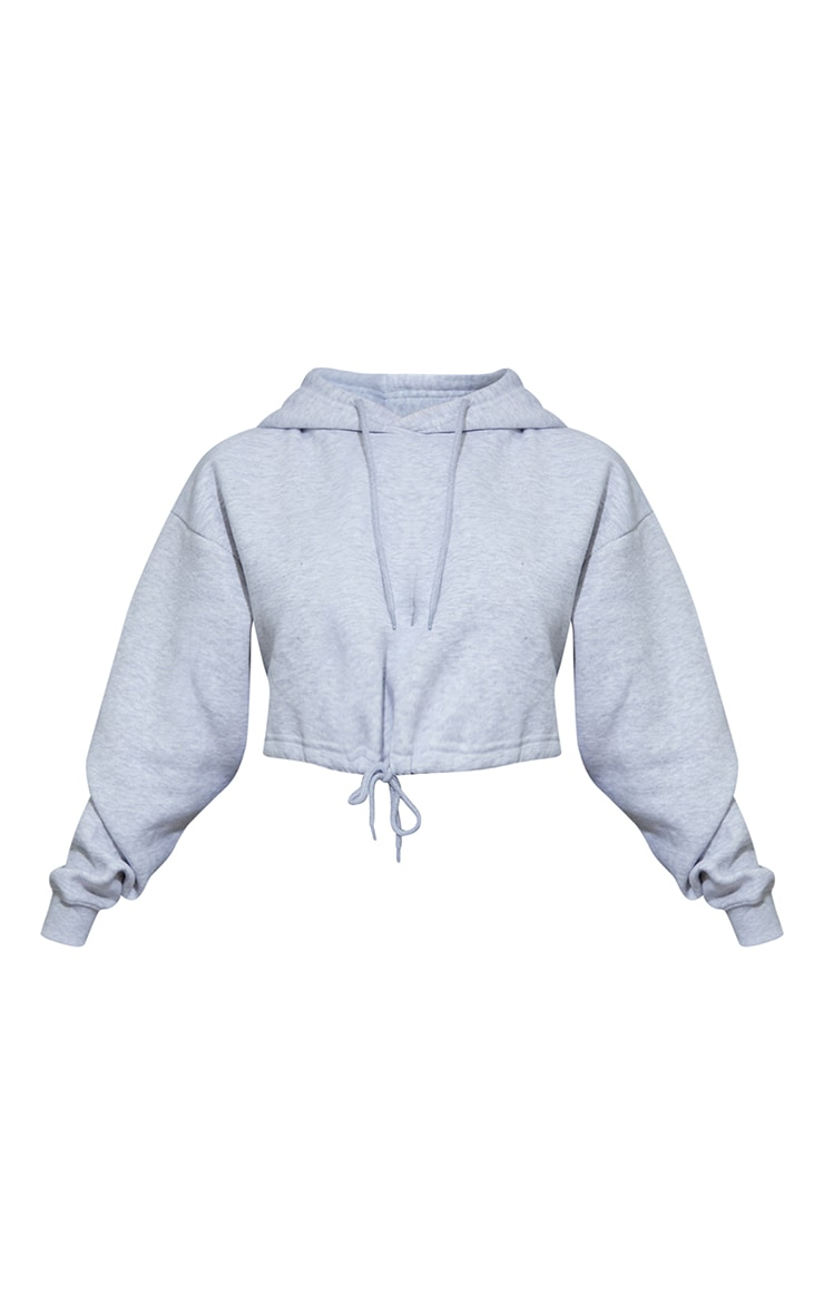 Grey Marl Tie Elasticated Hem Cropped Hoodie 5