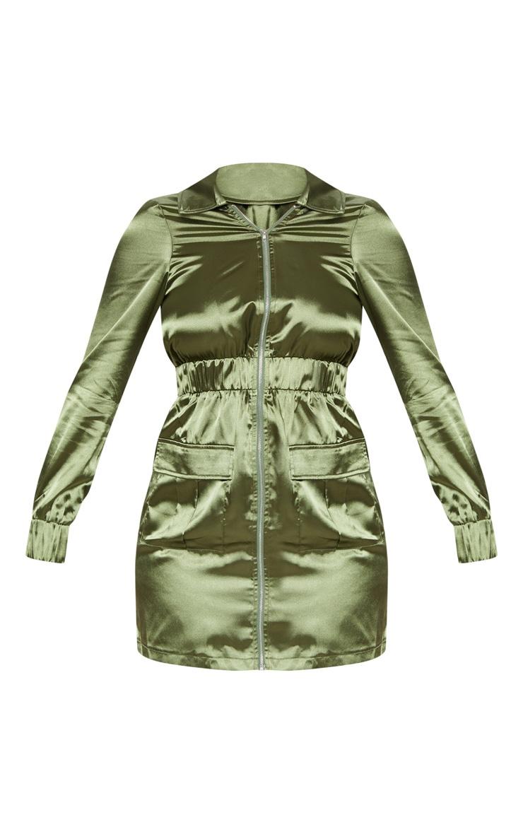 Khaki Satin Zip Front Pocket Detailing Shift Dress 4