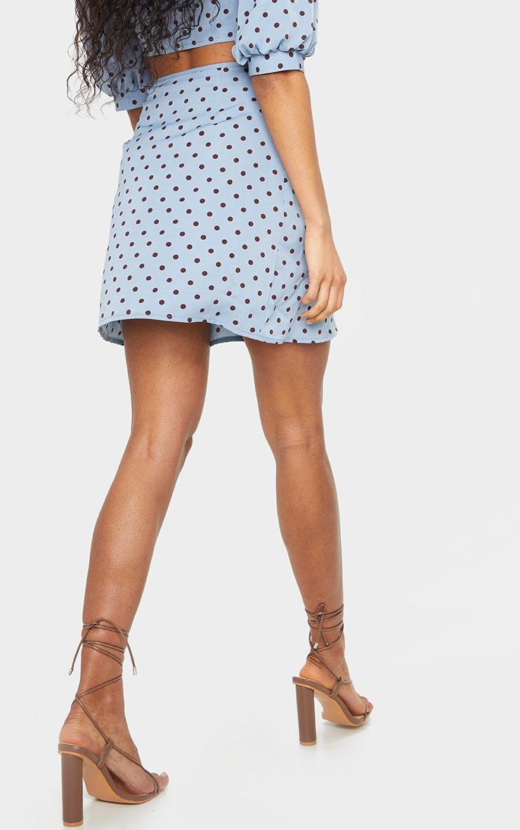 Blue Polka Dot Print Wrap Detail Mini Skirt 3
