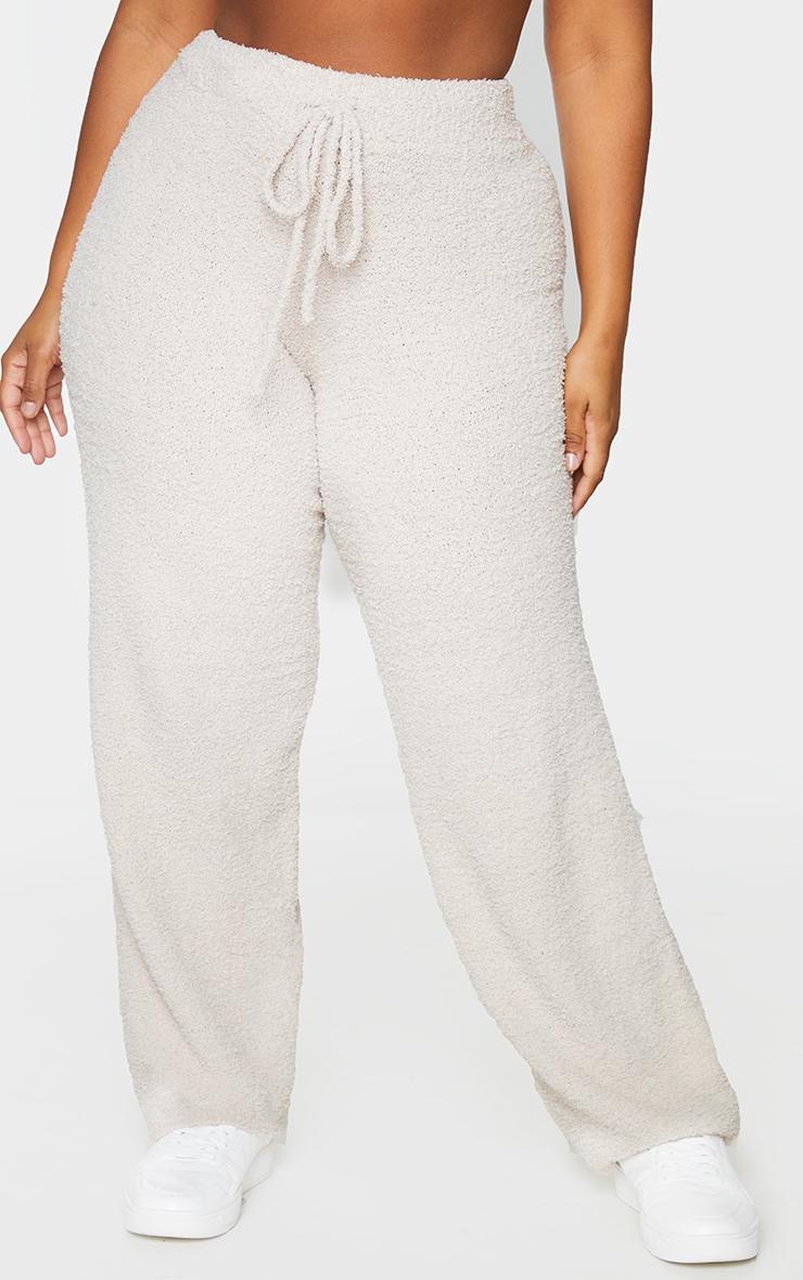 Plus Stone Fluffy Knit Wide Leg Trouser 2