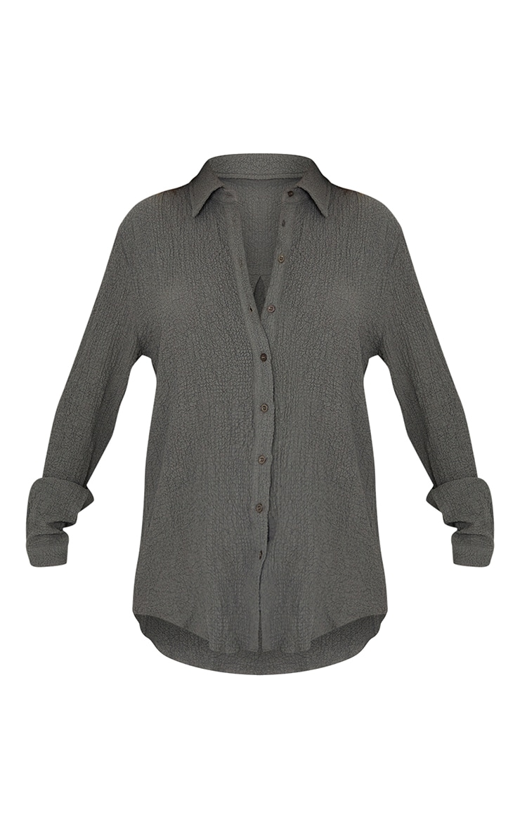 Grey Textured Crinkle Oversized Shirt 5