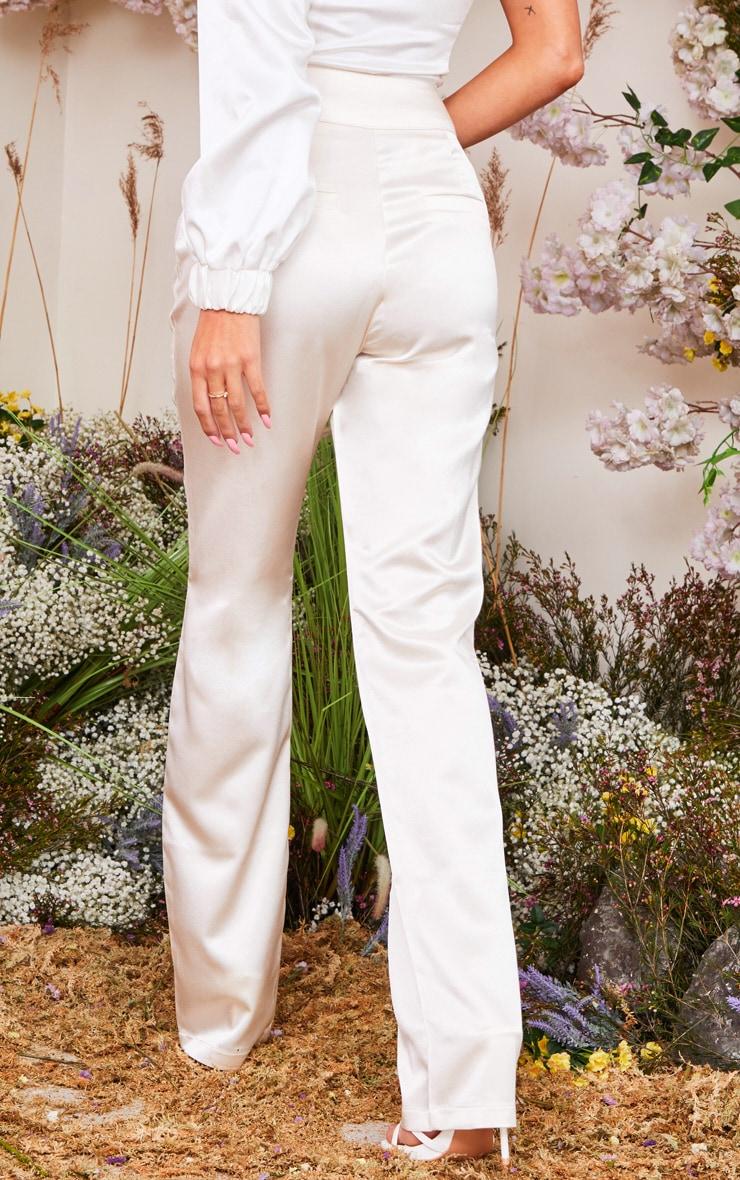 Cream Satin Straight Leg Pants 3