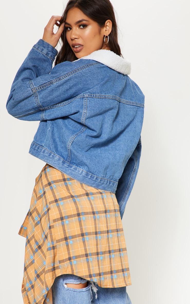 Veste en jean délavé à col fourré 3