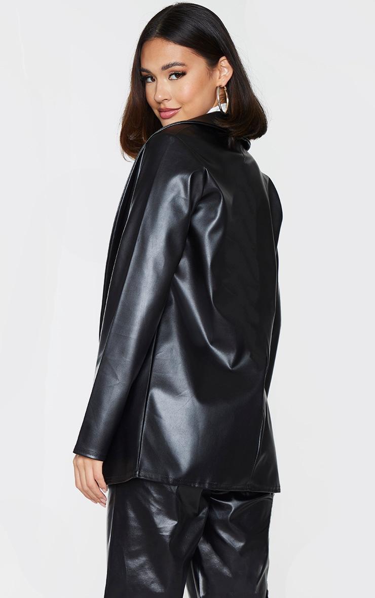 Black Drop Collar Faux Leather Blazer 2