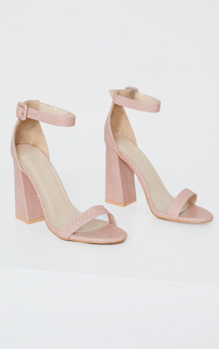 Nude Square Buckle Ankle Strap Block Heel Sandal 5