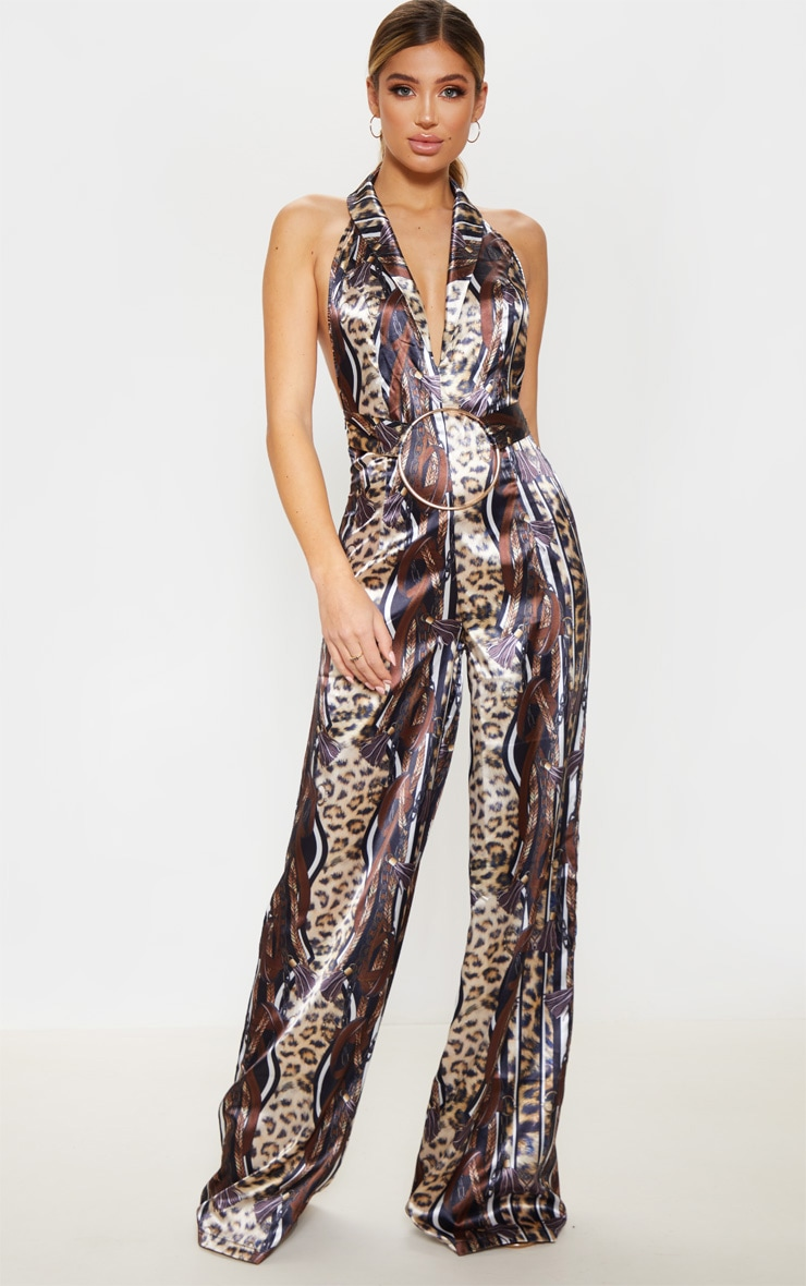 Brown Satin Leopard Chain Print Ring Detail Jumpsuit 1