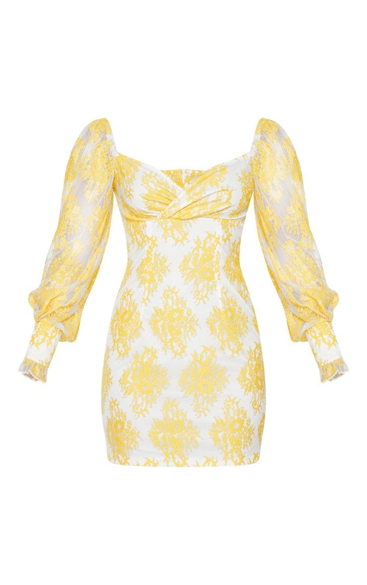 Lemon Button Detail Lace Bodycon Dress 5