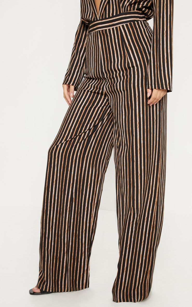 Black Stripe High Waisted Straight Leg Trouser 2