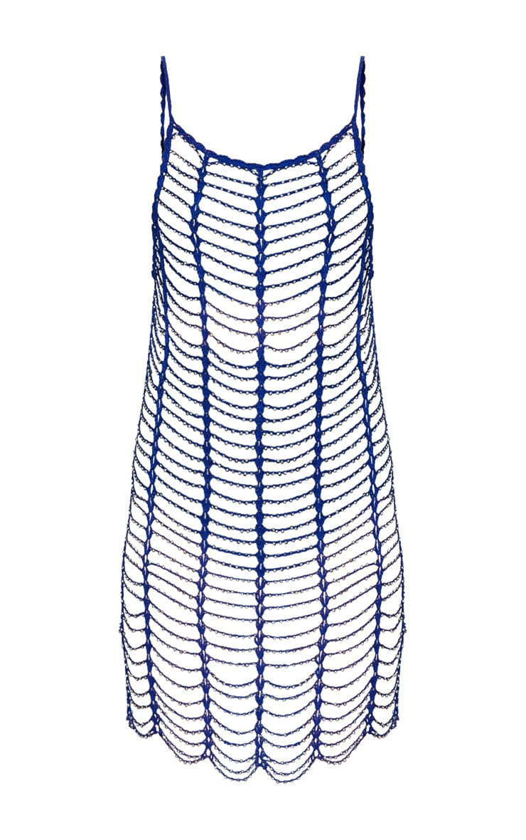 Cobalt Blue Crochet Beaded Dress 3