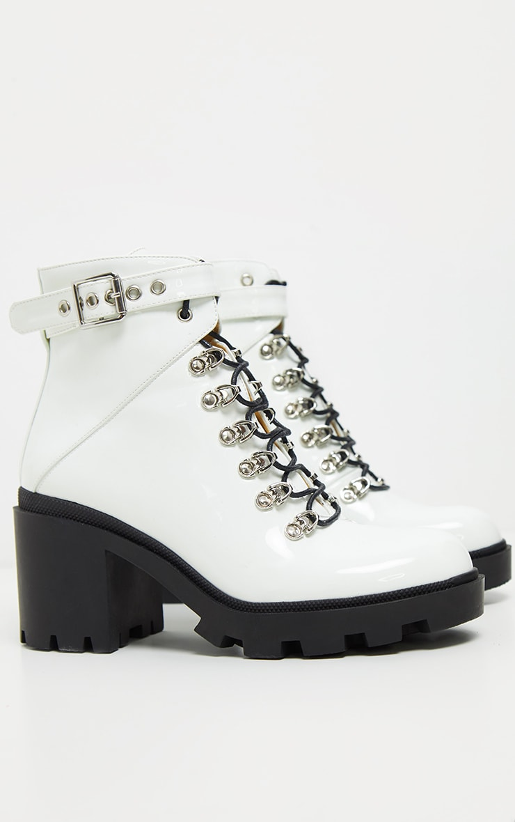 White Lace Up Heeled Hiker Boot 3