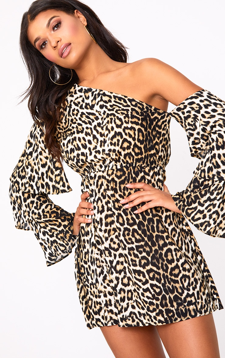 Leopard Print One Shoulder Frill Sleeve Swing Dress 1