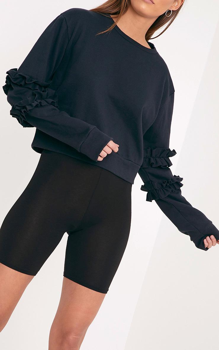 Venetia Black Frill Detail Sleeve Sweater  5