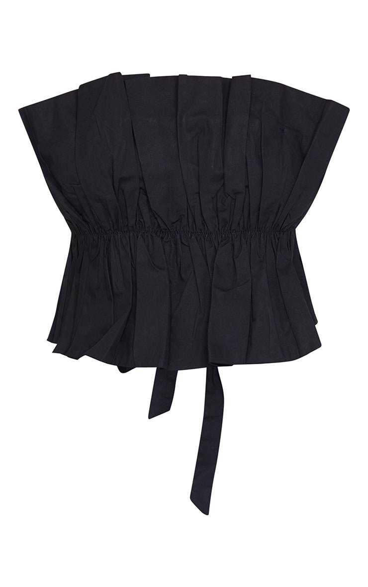 Black Cotton Ruffle Bandeau Top 5