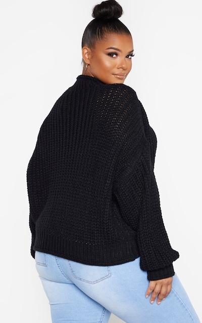 Plus Black Chunky Knit Oversized Jumper