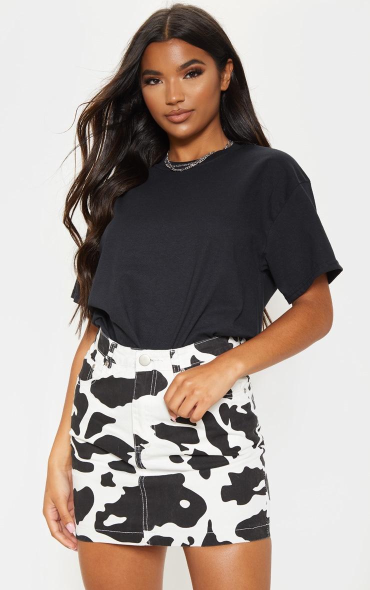 Cow Print Denim Mini Skirt 5