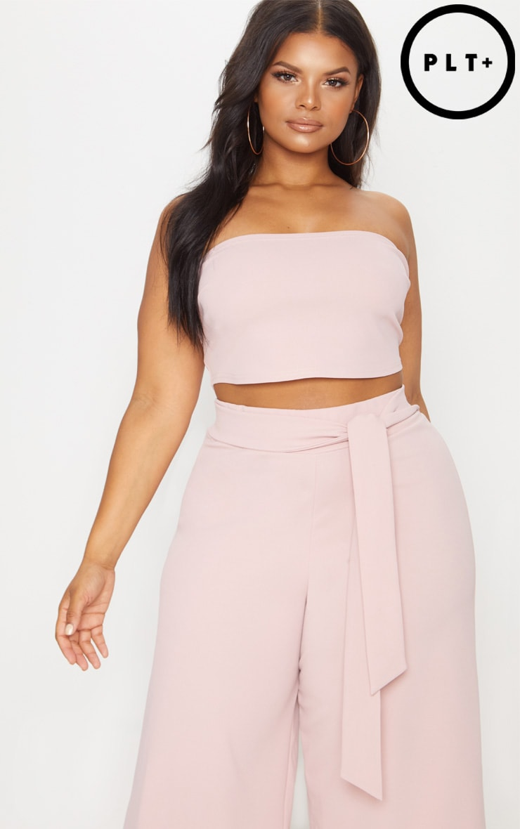 Plus Dusty Pink Bandeau Crop Top  1