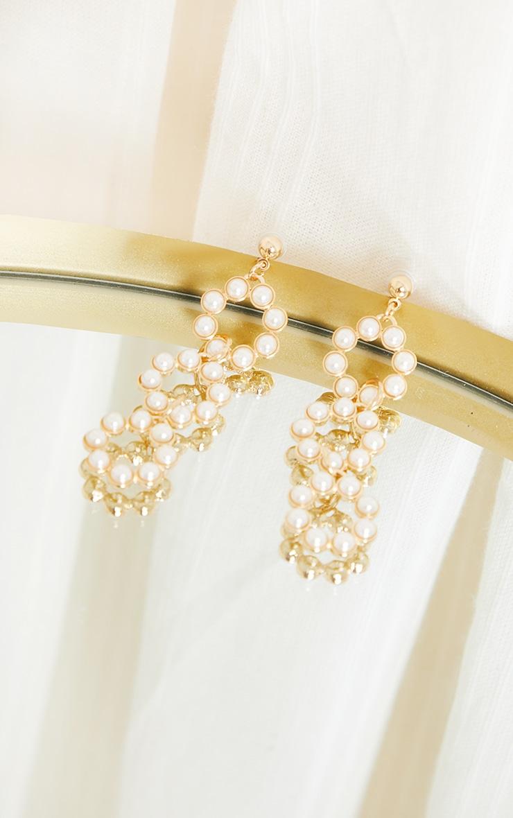 Gold Round Pearl Drop Hoop Earrings 3