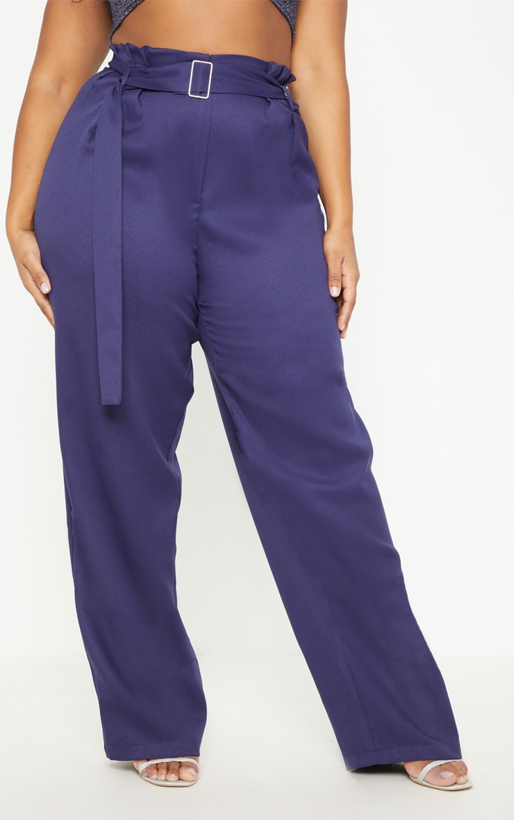 Plus Navy Paper Bag Pleated Wide Leg Trouser 2