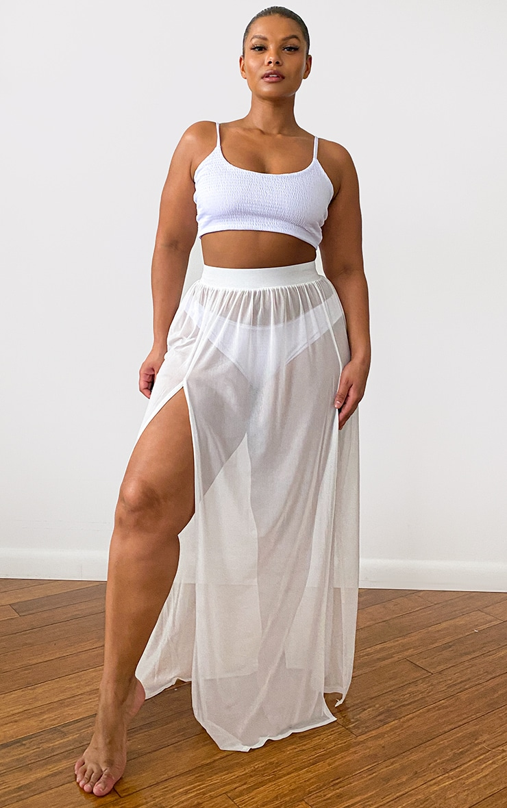 Plus White Minah Mesh Maxi Skirt 1