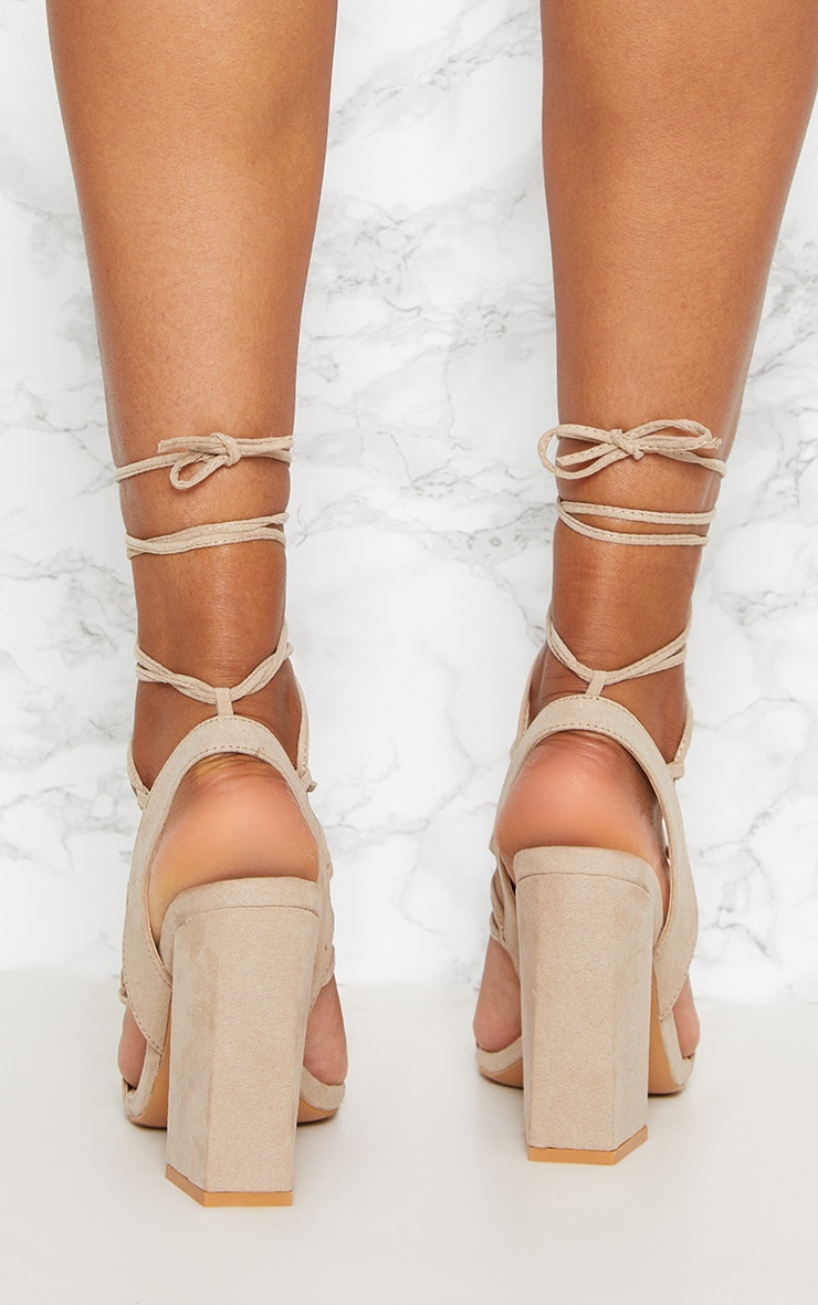 Nude Ghillie Lace Up Block Heel  3