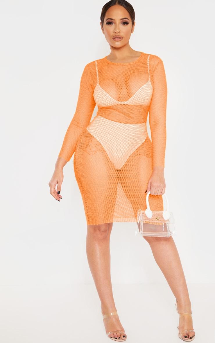 Shape Neon Orange Sheer Net Long Sleeve Midi Dress 1