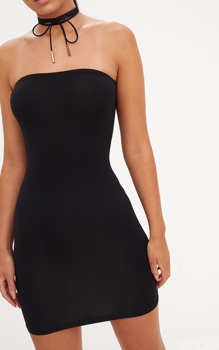 Black Jersey Bandeau Bodycon Dress 5
