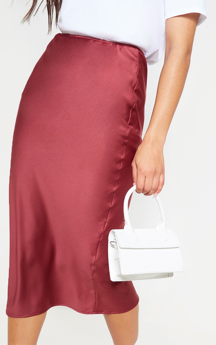 Burgundy Satin Midi Skirt  5