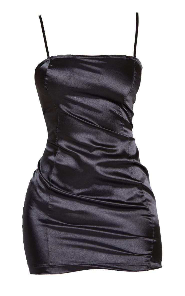 Petite Black Satin Strappy Straight Neck Bodycon Dress 6