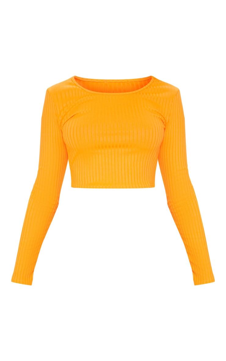 Neon Orange Scoop Neck Long Sleeve Crop Top 3