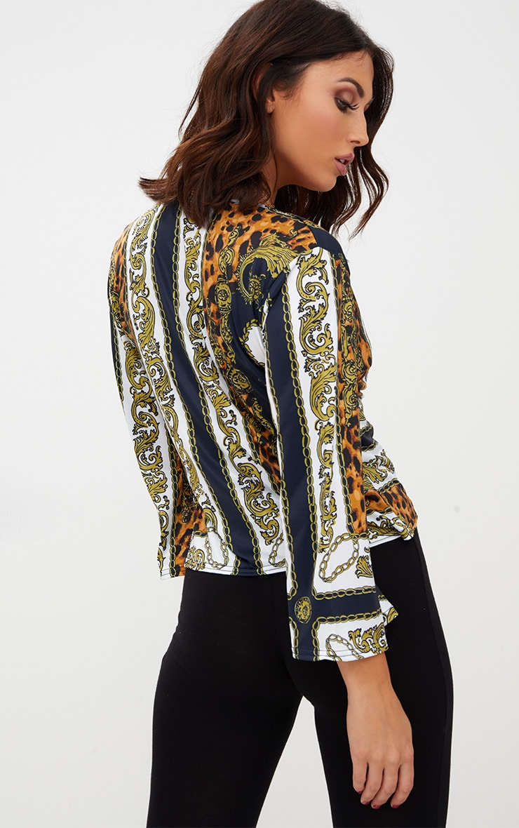 Navy Chain Print Tie Front Blouse  2