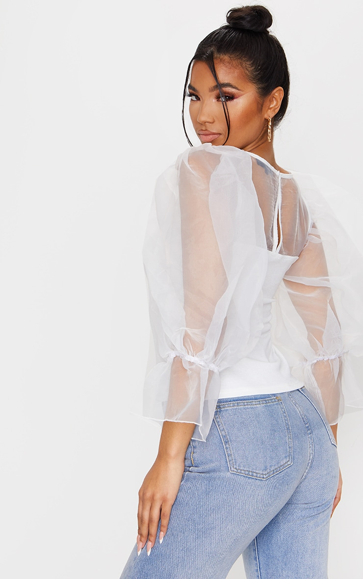White Organza Mesh Long Top 2
