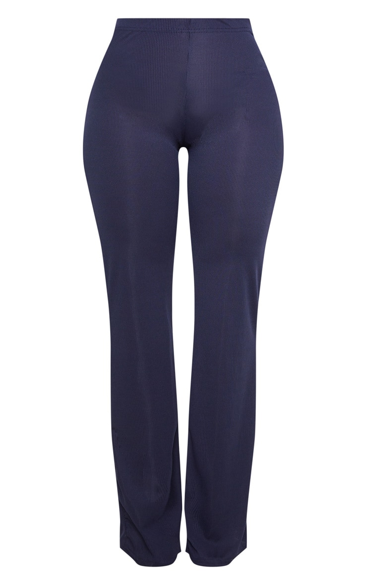 Shape Navy Ribbed Wide Leg Trousers 3