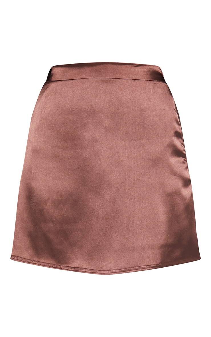 Chocolate Satin Bias Cut Mini Skirt 5