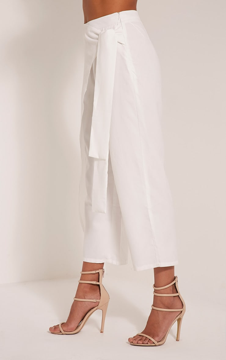 Shirley White Wrap Tie Culottes 4