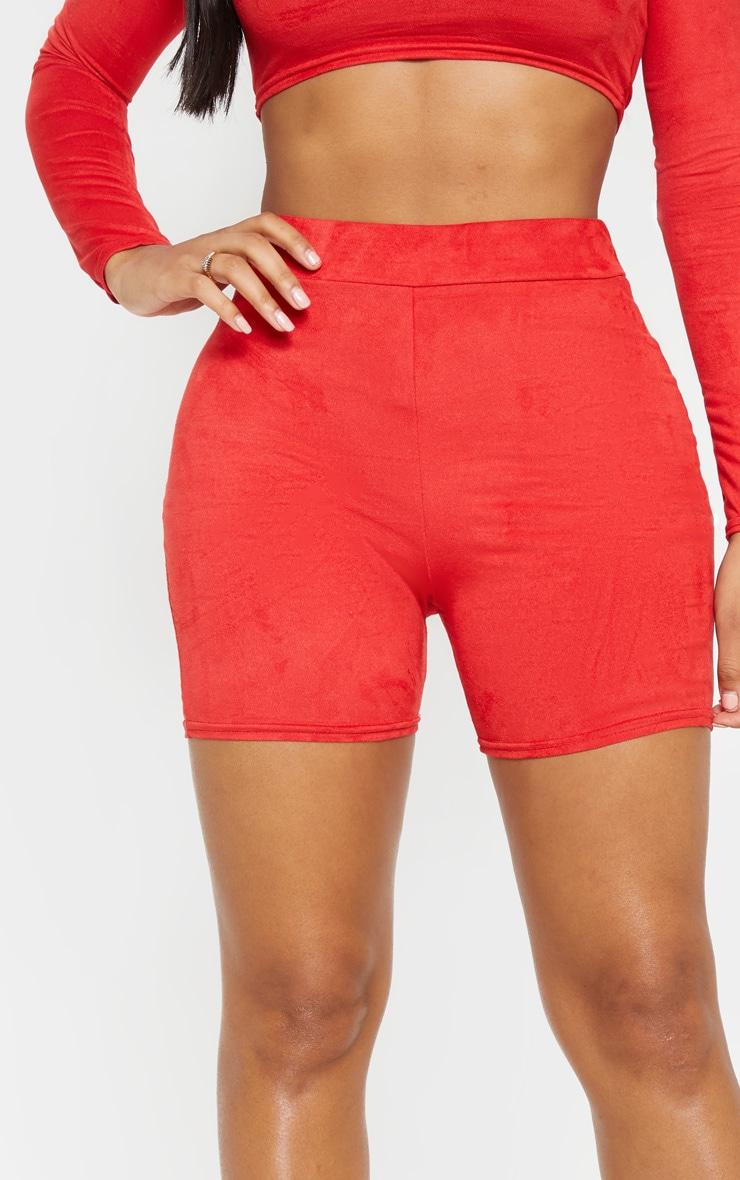Shape Red Faux Suede Bike Shorts 6
