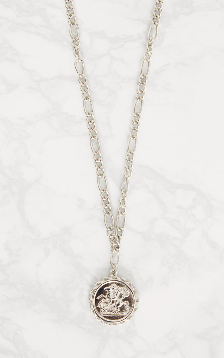 Silver Coin Pendant Chain Choker 3