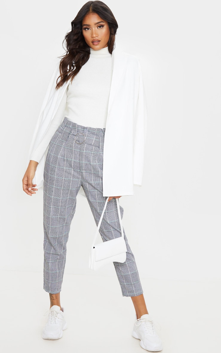 Grey Check Paper Bag Woven Pants 1