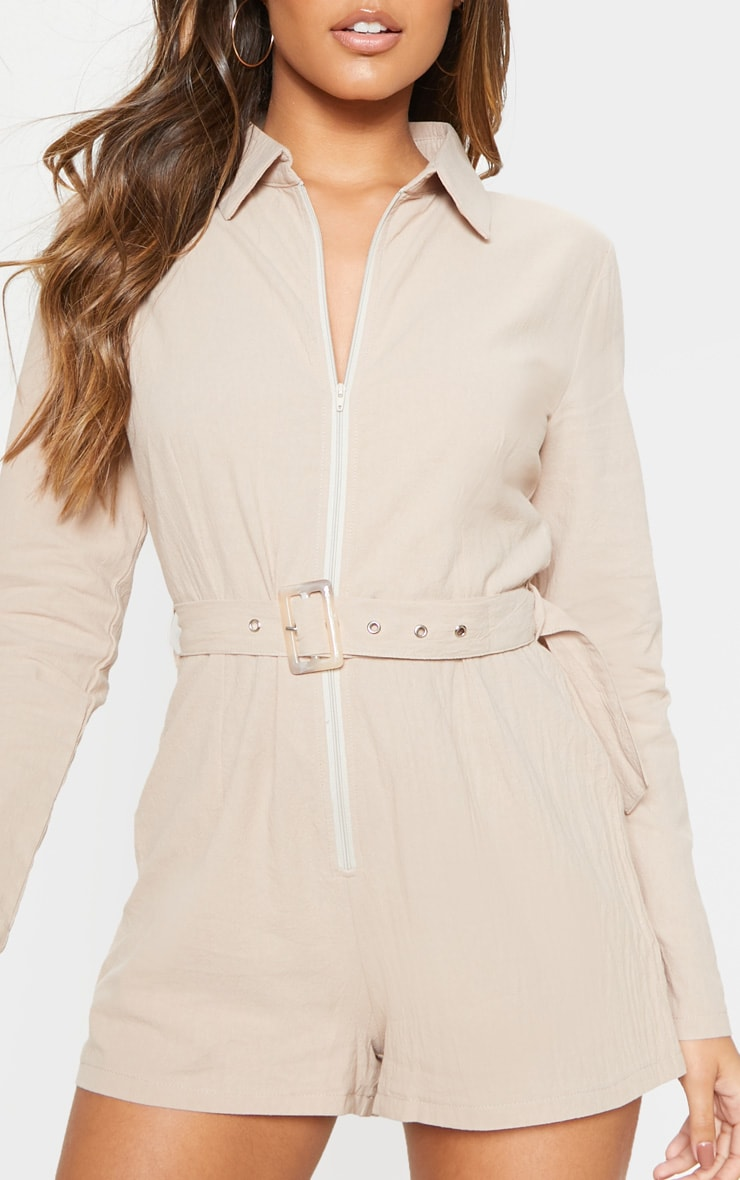 Stone Long Sleeve Belted Playsuit 5