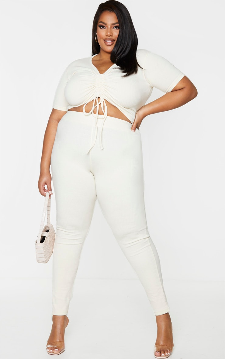 Plus Cream Thick Rib Leggings 1