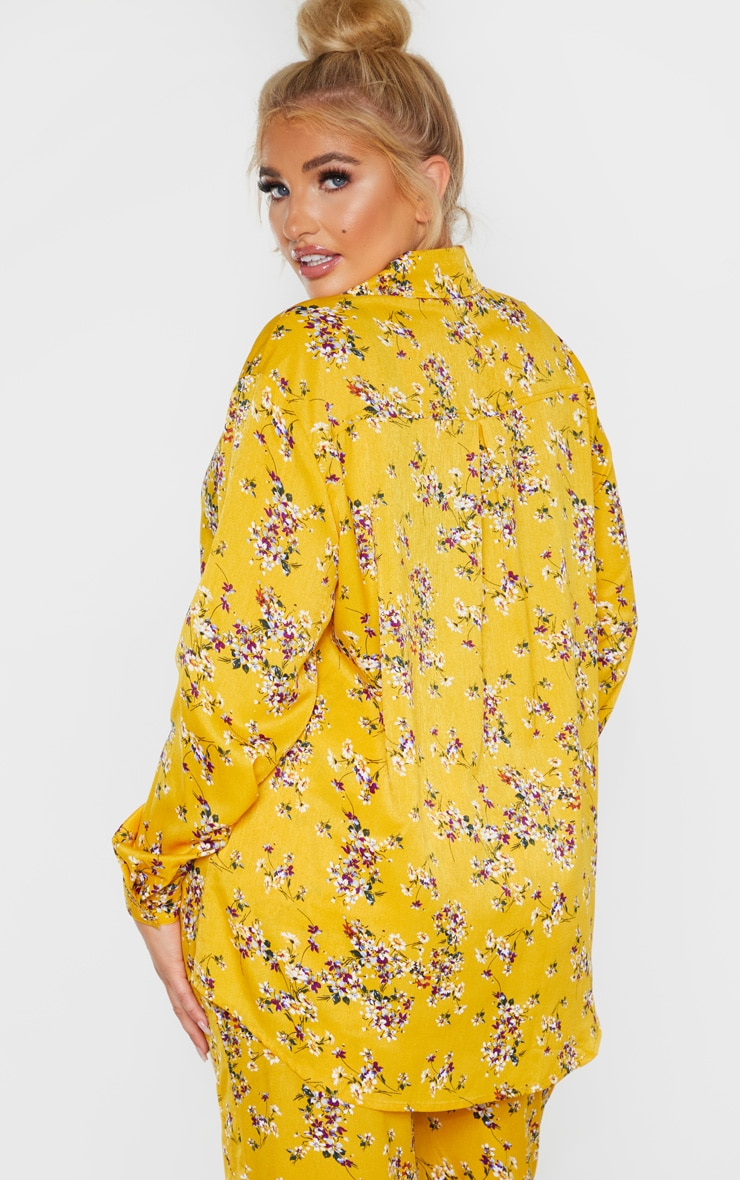 Plus Yellow Floral Oversized Shirt  2