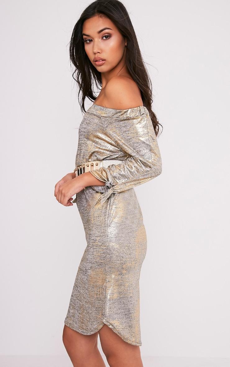 Daryl Gold Metallic Long Sleeve Bardot Shift Dress 4