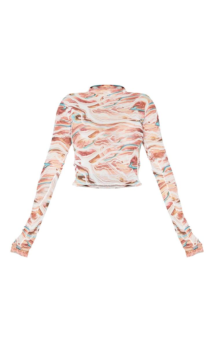 Shape Pink Marble Print Mesh Thumb Hole High Neck Top 5