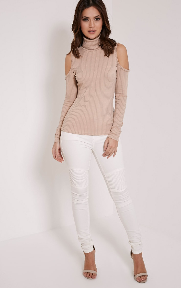Valentina Stone Ribbed Cold Shoulder Roll Neck Top 4