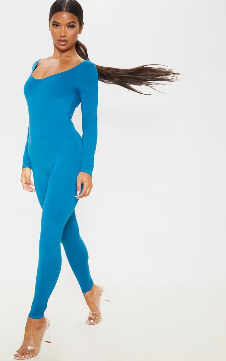 petrol-blue-cotton-elastane-scoop-neck-jumpsuit by prettylittlething