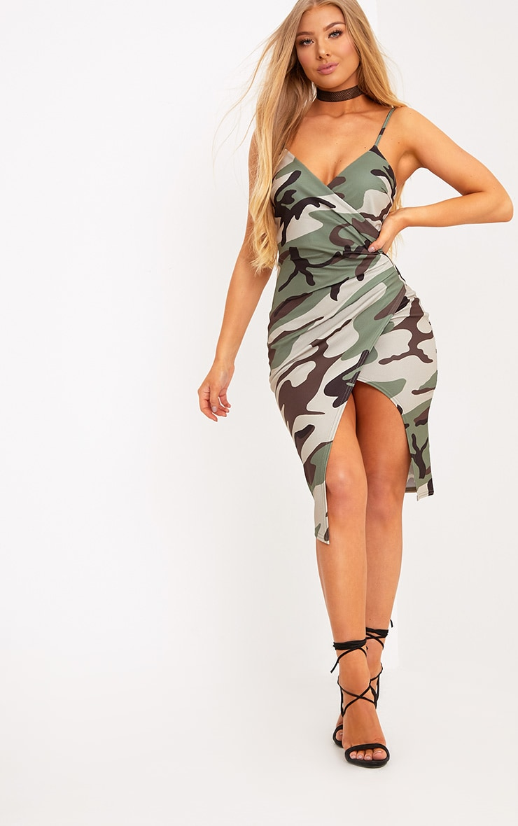 Lauriell Green Camouflage Wrap Front Crepe Midi Dress 3