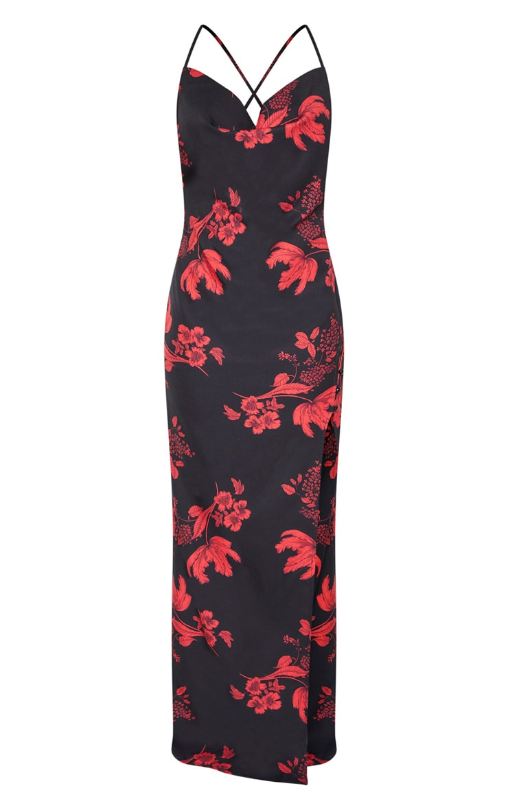 Black Floral Print Cowl Neck Button Maxi Dress  3