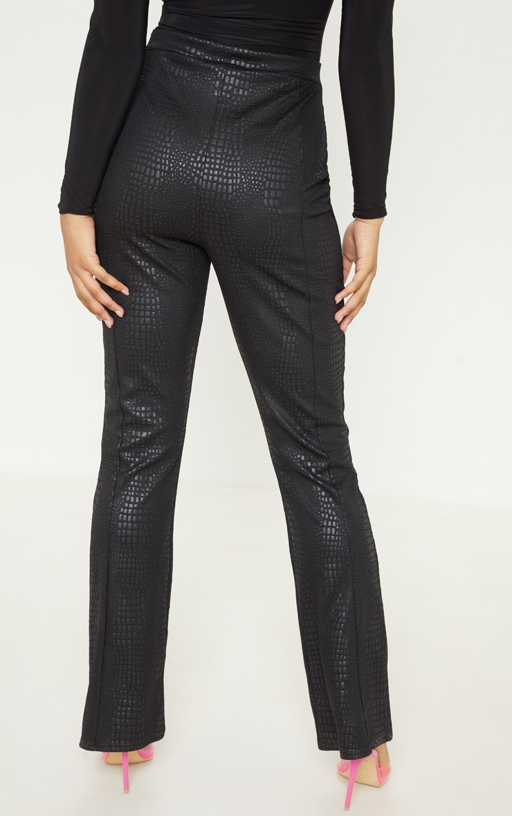 Tall Black Faux Croc Pu Zip Detail Wide Leg Trouser  4